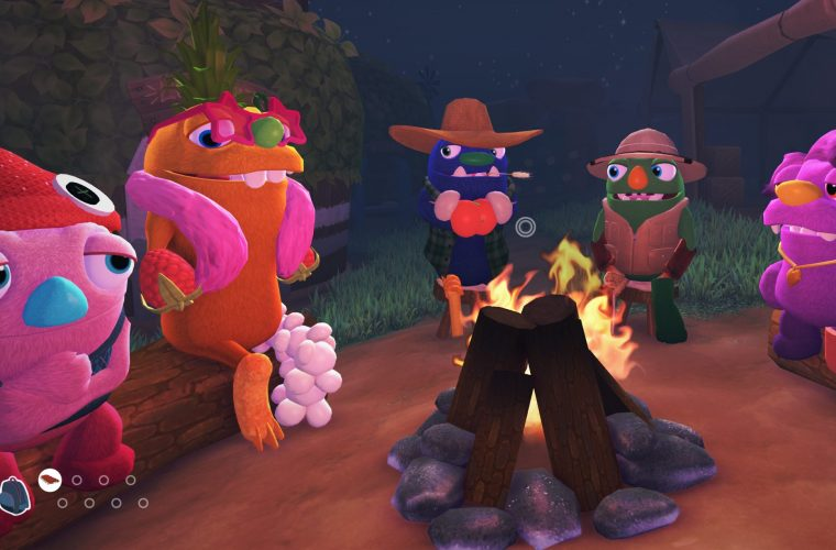 Grumpuses sit in front of a campfire