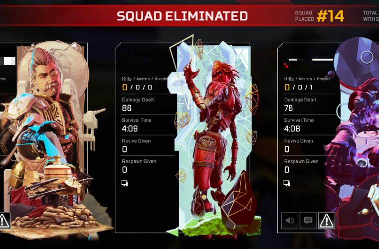 Apex Legends squad elimination screen with bad damage